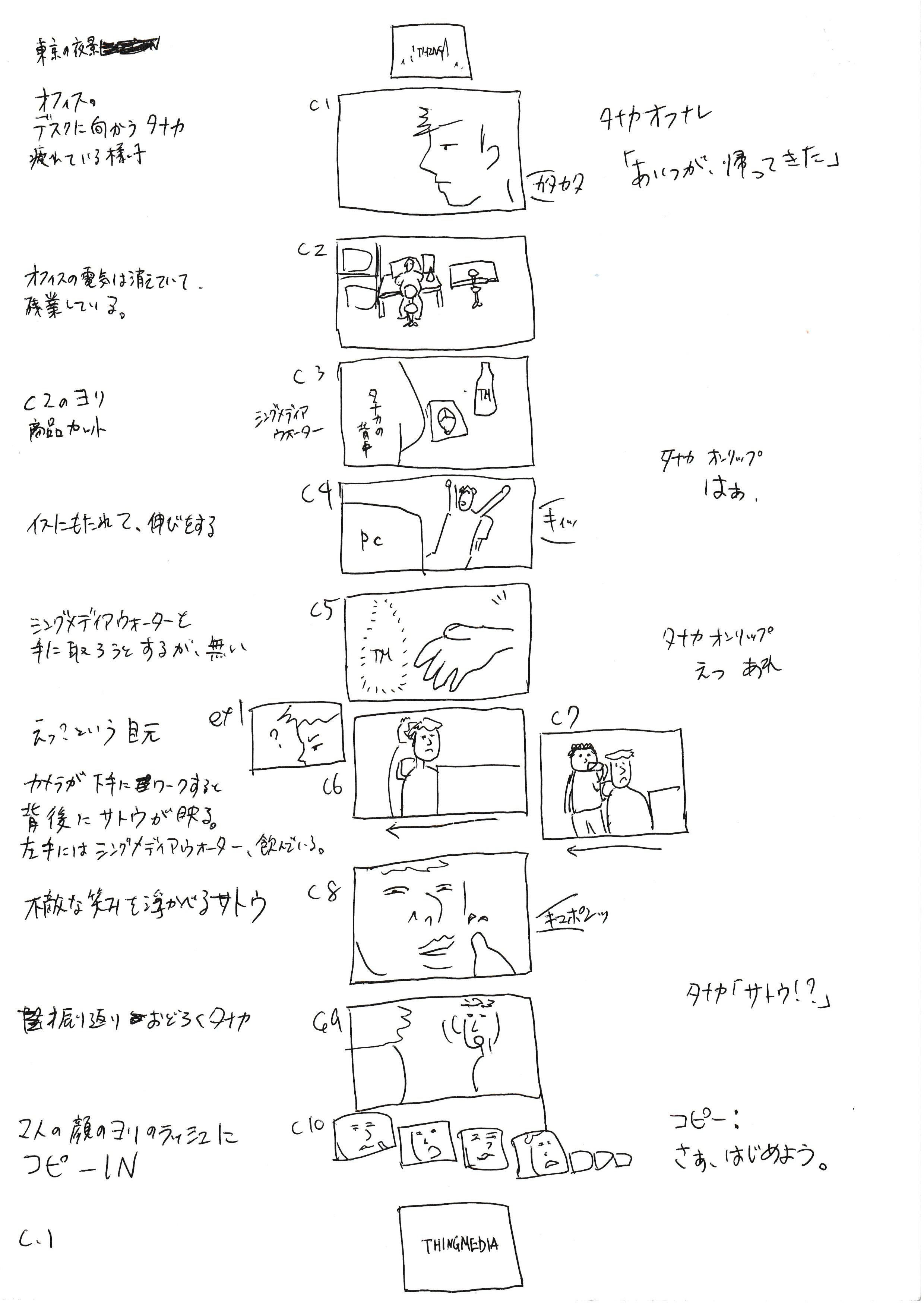 絵コンテのサンプル(作:THINGMEDIA株式会社 映像プロデューサー・安枝新介)