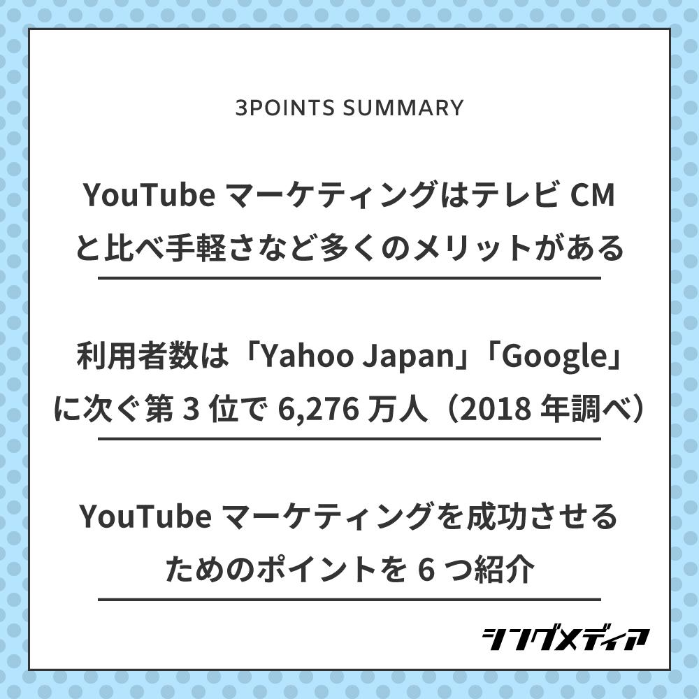 YouTubeマーケティングはテレビCMと比べ、手軽さやファンの獲得など多くのメリットがある/YouTubeの利用者数は「Yahoo Japan」「Google」に次ぐ第3位で6,276万人(2018年調べ)/YouTubeマーケティングを成功させるためのポイントを6つ紹介
