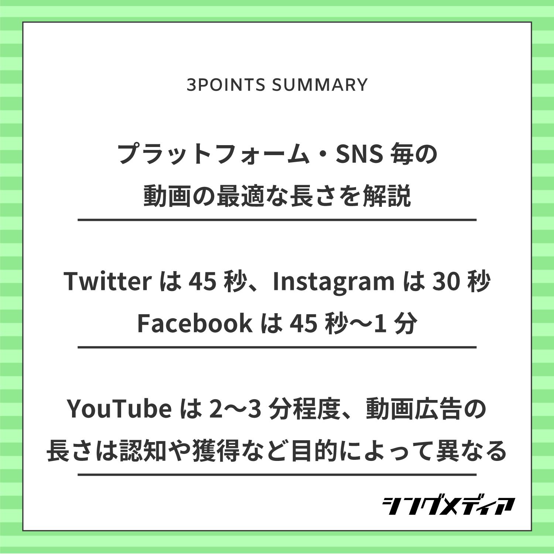 プラットフォーム・SNS毎の動画の最適な長さを解説/Twitterは45秒、Facebookは45秒~1分、Instagramは30秒/YouTubeは2~3分程度、動画広告の長さは認知や獲得など目的によって異なる